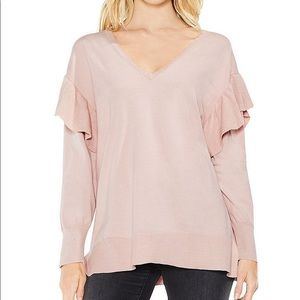 Vince Camuto Dusty Blush Ruffled V-neck Sweater